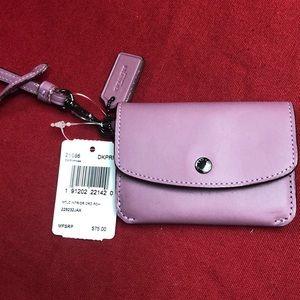 NWT Coach card pouch pink glitter metallic